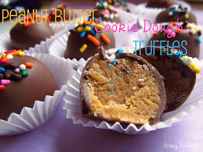 peanut butter cookie dough truffles coated with chocolate
