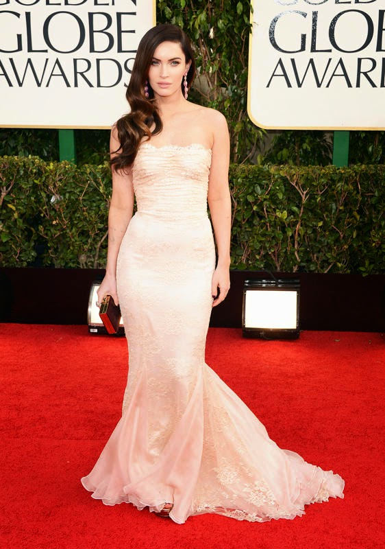Megan Fox Wearing a blush-colored Dolce & Gabbana gown and pink-and-pearl Lorraine Schwartz earring