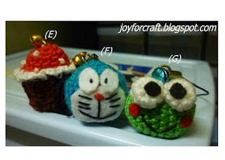 Crochet Cute Cupcake, Doraemon and Frog Handphone Straps