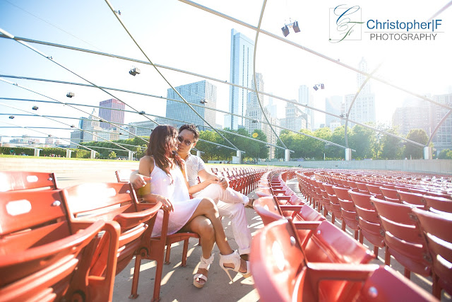 Downtown Chicago Millennium Park Pritzker Pavilion Engagement