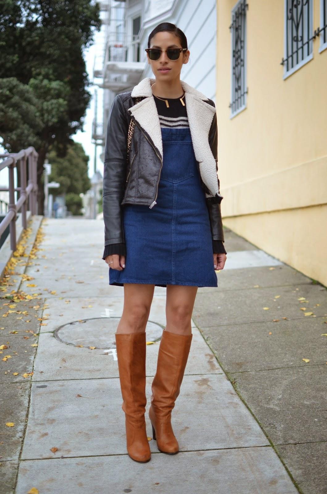 SF style, shearling moto jacket, zara, Dolce Vita, RayBans, 2Bandits