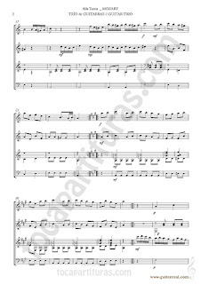 2  Marcha Turca Partitura de Trio de Guitarra y guitarra bajo Guitar Sheet Music for three guitars