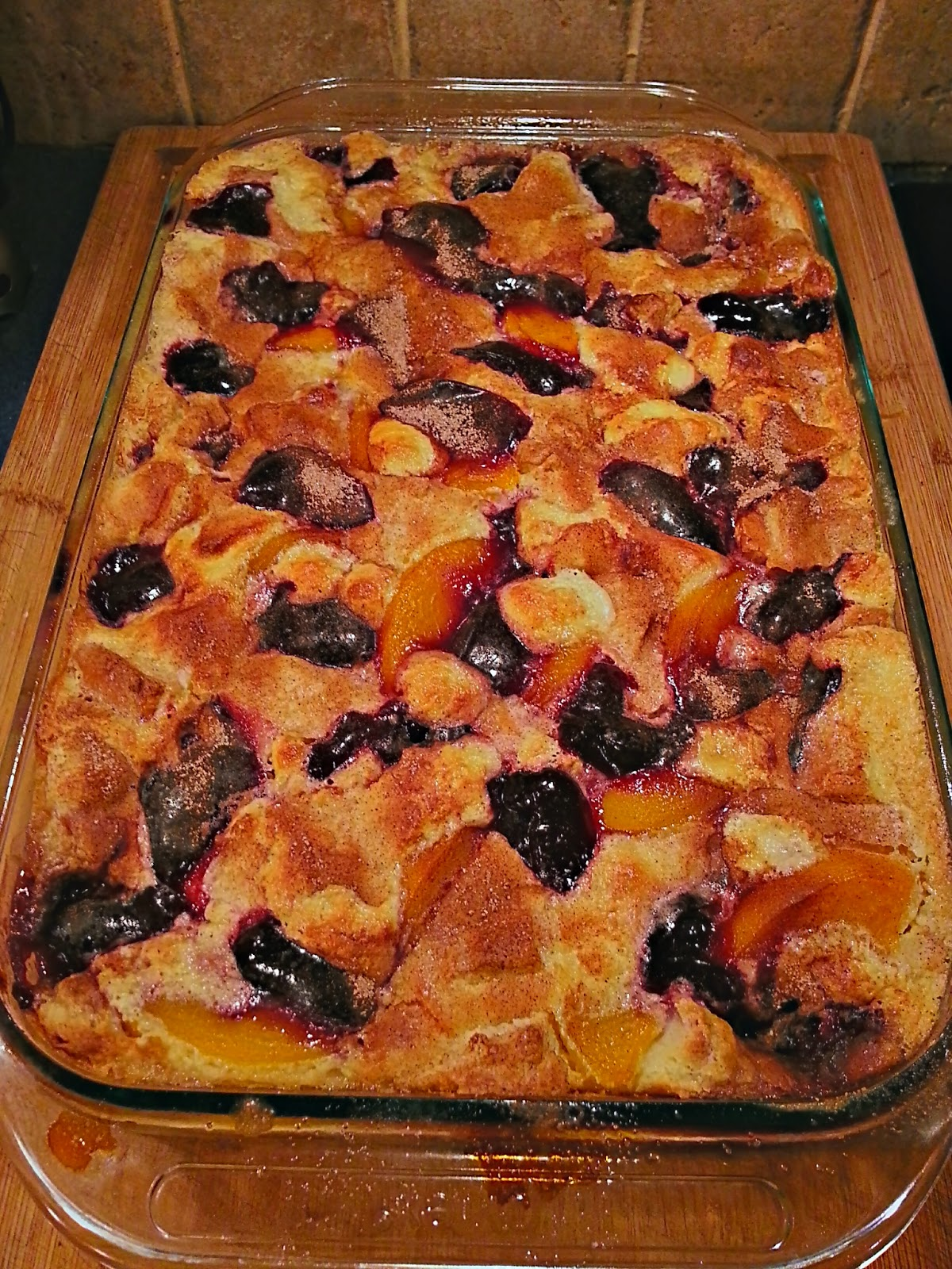 Finished Raspberry Peach Bread Pudding