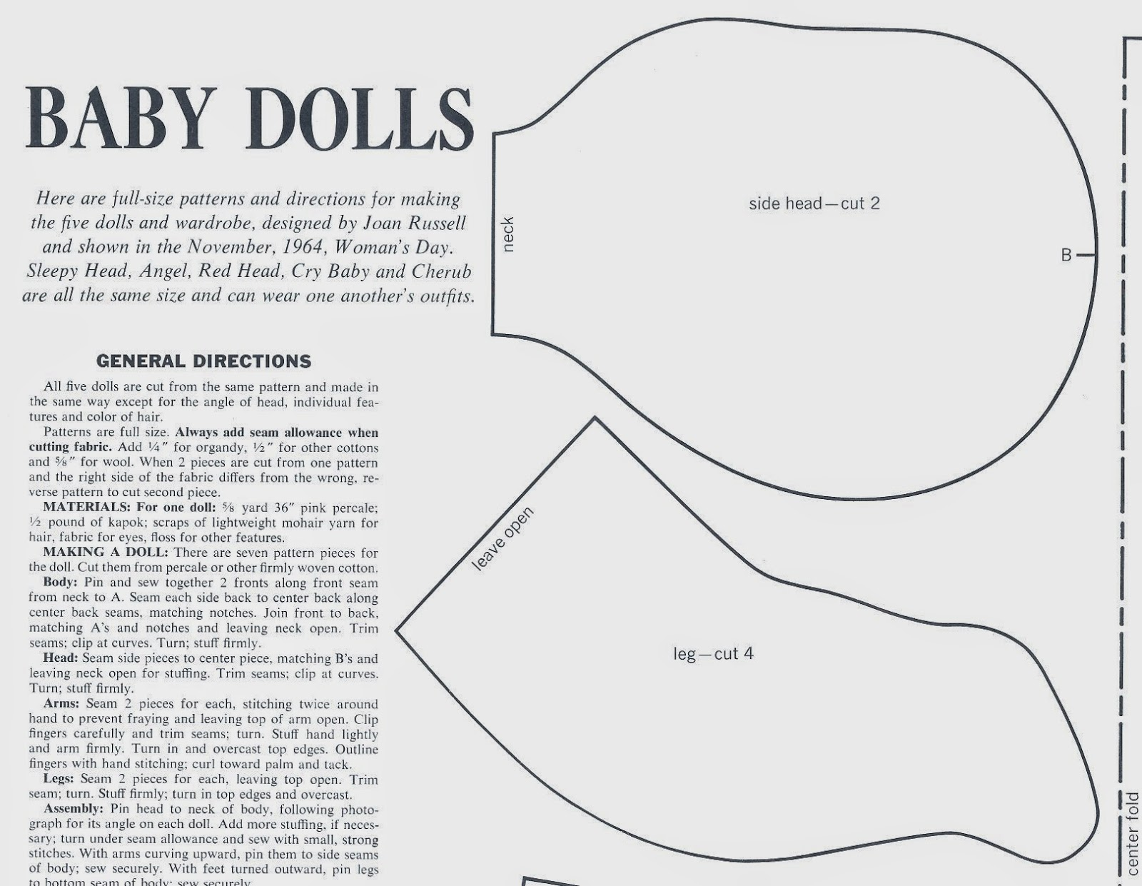 Vintage Cloth Doll Patterns Baby Dolls by Joan Russell for Woman s