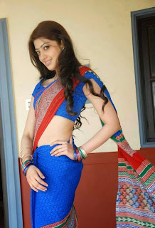 Pranitha in Blue Saree Lovely Pics