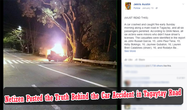 Netizen Posted the Truth Behind the Car Accident in Tagaytay Road