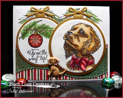 Stamps - North Coast Creations Santa Paws, ODBD Christmas Paper Collection 2013, ODBD Custom Circle Ornaments Die, ODBD Pinecone Single