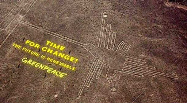 Greenpeace pode ter danificado permanentemente linhas de Nazca