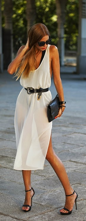White Sexy Mini Dress with Black High Heels | Chic Summer Outfits