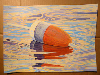 """Buoy In Water"" - Watercolor On Hot-Pressed Paper"