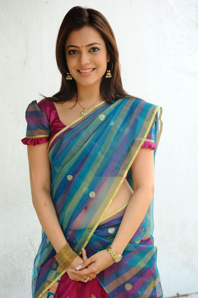 Actress Kajal Agarwal Sister Nisha Agarwal Hot And Cute Sexy Navel HD Images In Blue Transparent Saree And Red Blouse Slipped