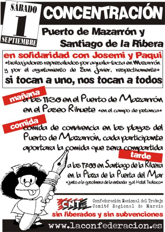 CNT contra la represión en Aqualia, Facsa y el ayuntamiento de San Javier