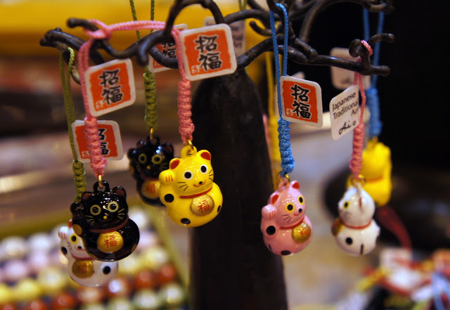 Maneki-neko phone charms at Hyper Japan, London 2013