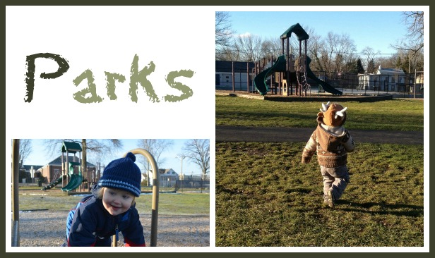 Playing in parks in the winter