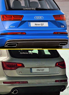 Exterior Rear View: New 2015-2016 Audi Q7 versus Old Audi Q7