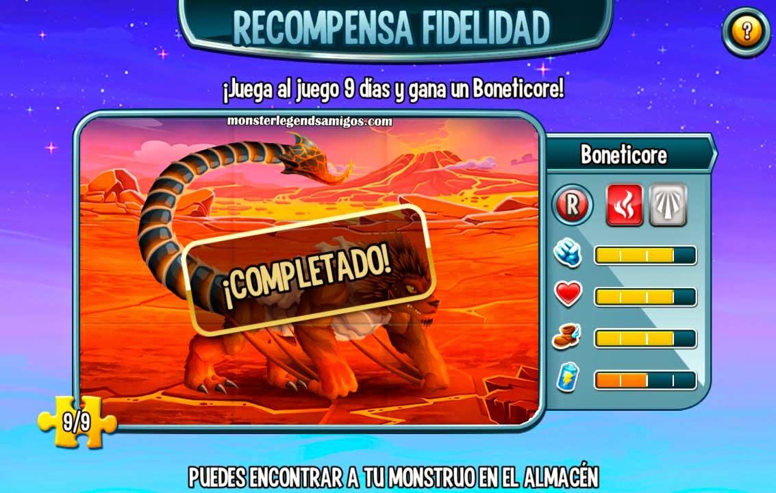 imagen del monstruo boneticore de la recompensa fidelidad de monster legends