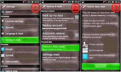 Hard Reset Sony Xperia ZL using menu
