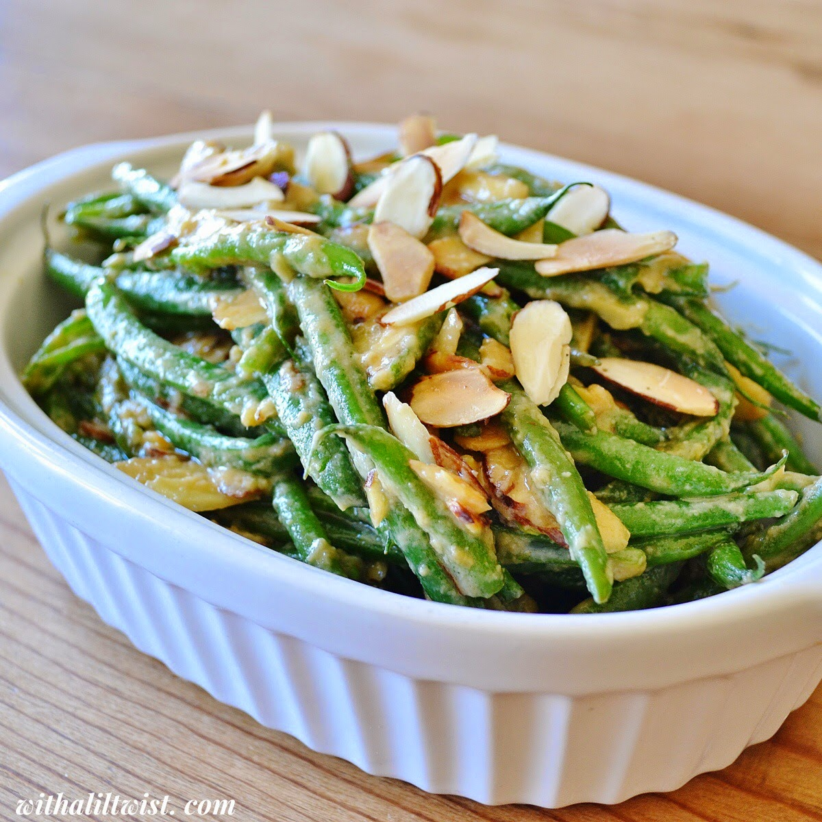 ... green beans green beans with miso dressing and almonds miso