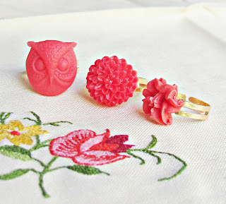 image red riding hood set two cheeky monkeys girls' rings set trio owl flower cabochon
