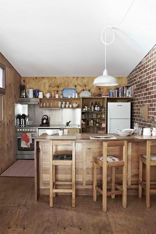 9 cocinas con pared de ladrillo visto la indiana colonial - Cocina de ladrillo ...