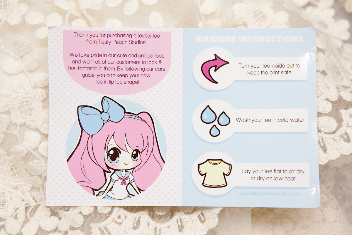 Alexas style blog tasty peach studios product review japanese this is my first time getting a t shirt from tasty peach so its the first time ive seen this care card it is a cute little card reminding you to wash colourmoves