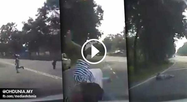 Budak Terpelanting Kena langgar akibat melintas dengan melulu