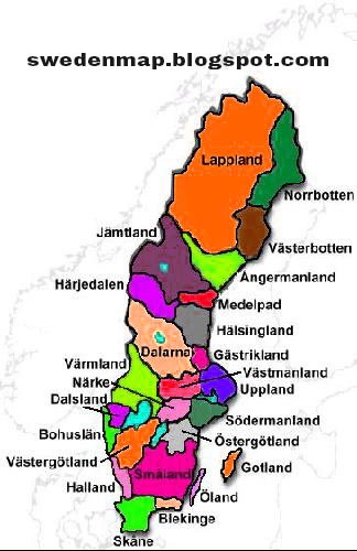 Sweden Political Regional Map Sweden Map Geography Physical - Map of sweden