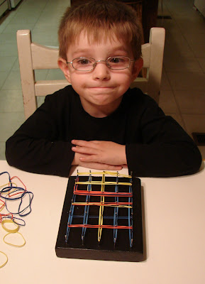Lots of ways to play with a geoboard