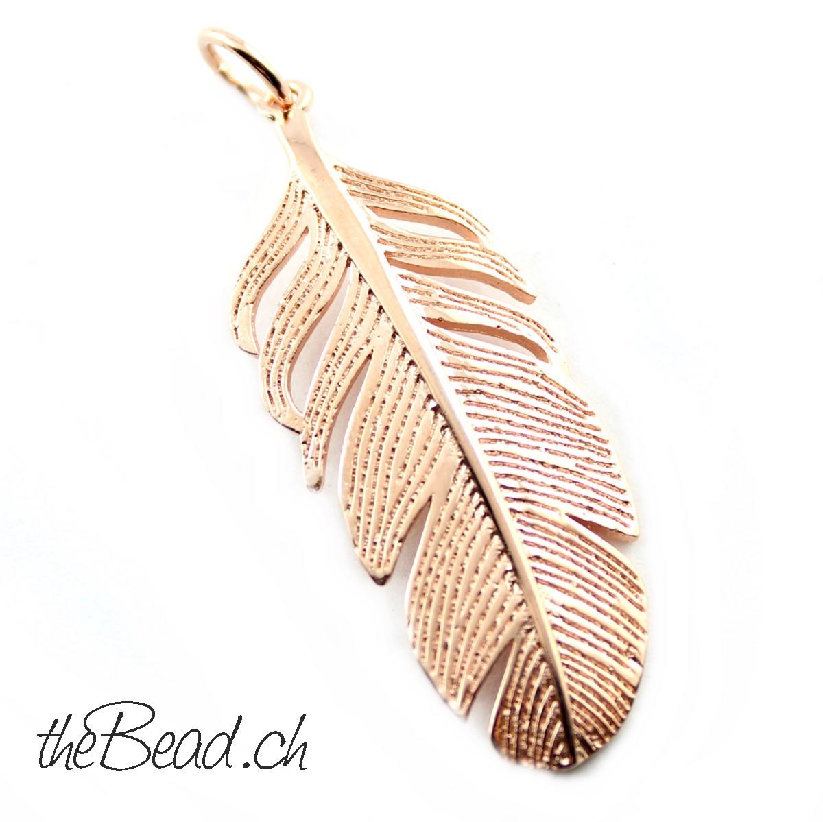 925 Sterling Silber Halsketten Feder für Collier rosevergoldet bei www.thebead.ch