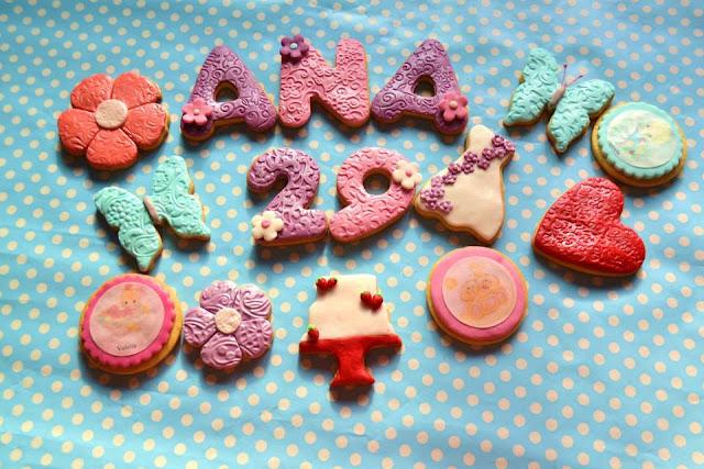 Galletas decoradas personalizadas con Nombre y edad tarta imagen comestible fondant mariposa tarta