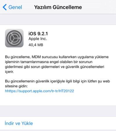 iOS 9.2.1 Yazılım Güncelleme