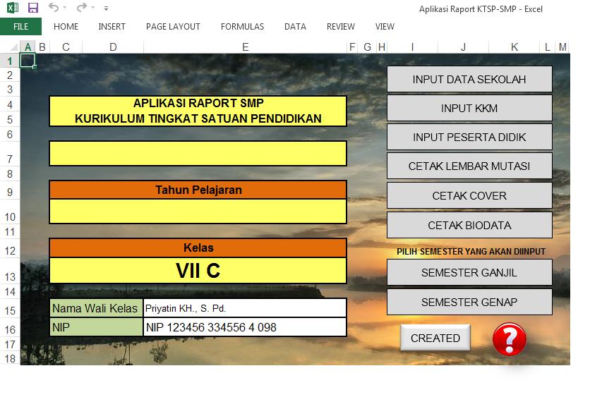 Aplikasi Raport SMP KTSP 2006 Berbasis Excel Simpel Cocok untuk Guru