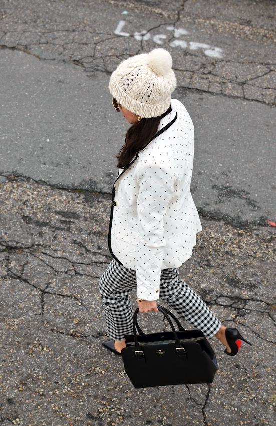 Polka dots blazer outfit