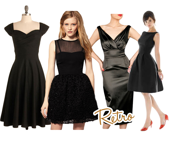 Retro Black Bridesmaids Dresses