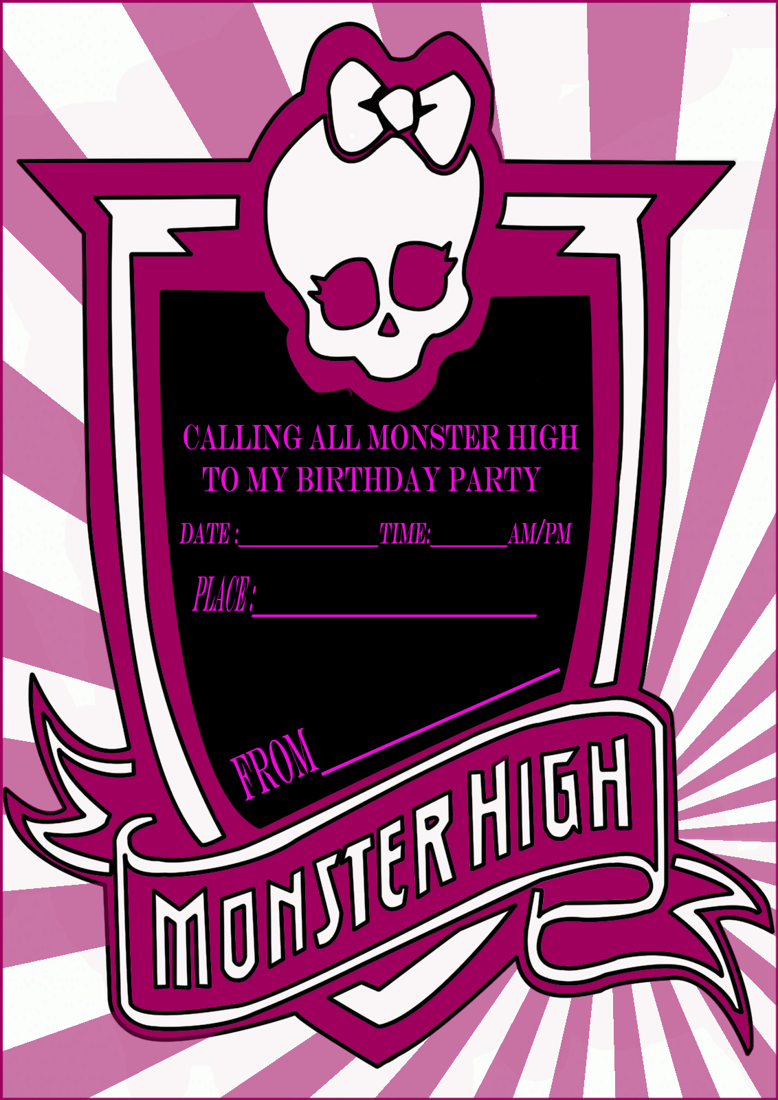 Monster High Party Invitation Card – Monster High Birthday Invitations Free