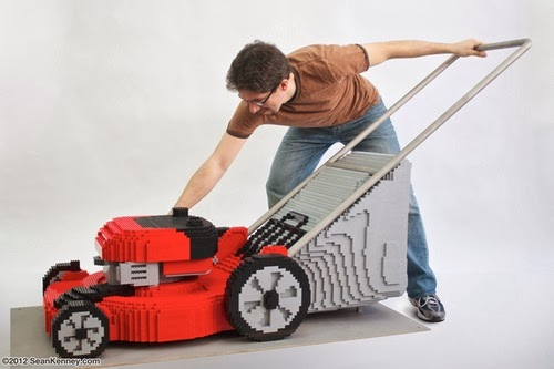 Lawnmower Lego art by Sean Kenney