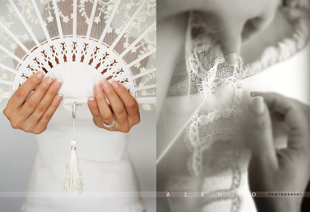abanico y velo de novia
