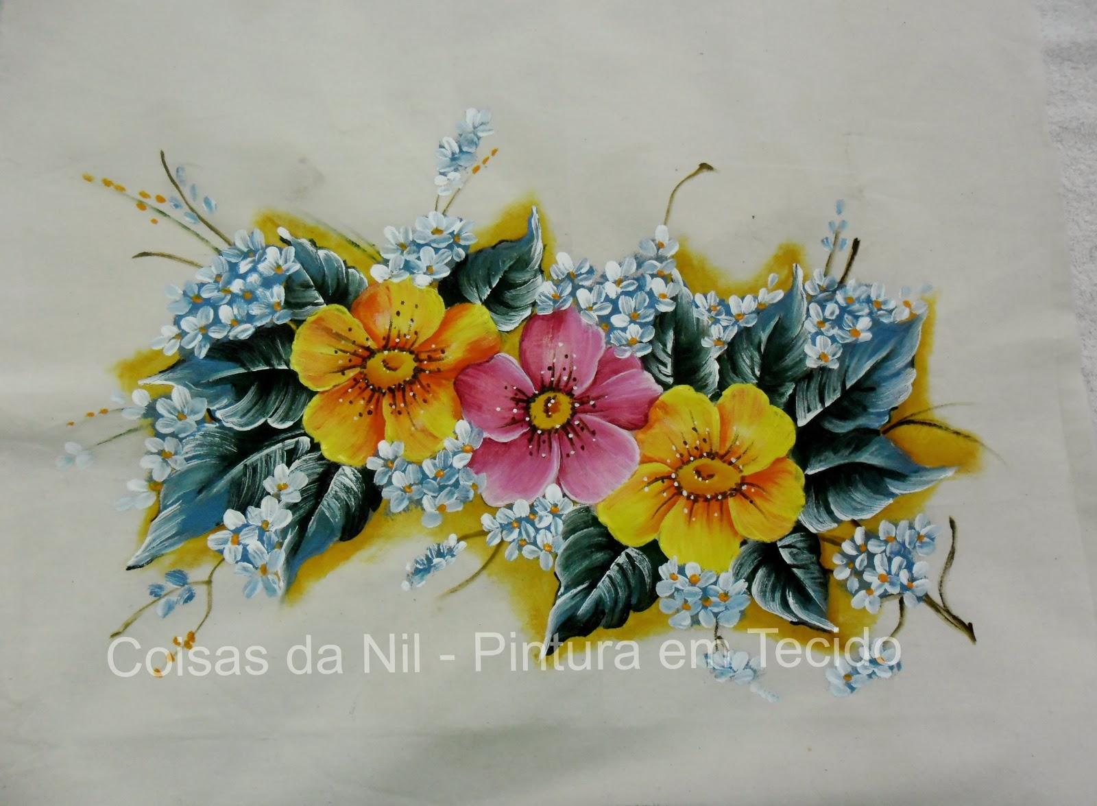 pintura em tecido flores papoulas