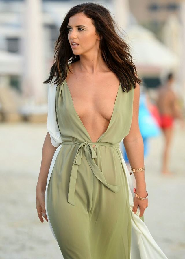 Lucy Mecklenburgh risks wardrobe malfunction in plunging kaftan