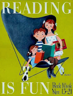 book week illustration by jan ballet of children reading