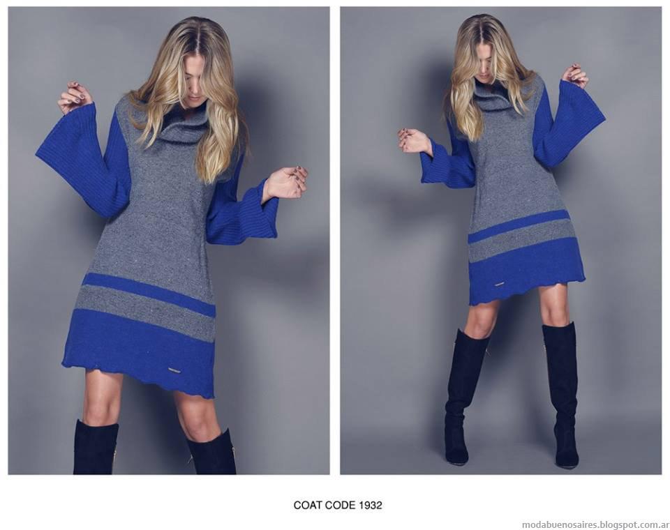 Vestidos tejidos invierno 2015 Agostina Bianchi.