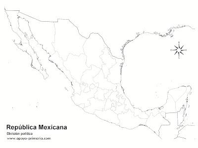 Mapa de México con División Política sin nombres