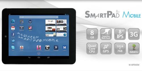 Processore quad core cortex a7, display ips 8 pollici, modulo 3G e Gps le principali caratterisitiche del nuovo tablet SmartPad 8 Mobile di Mediacom