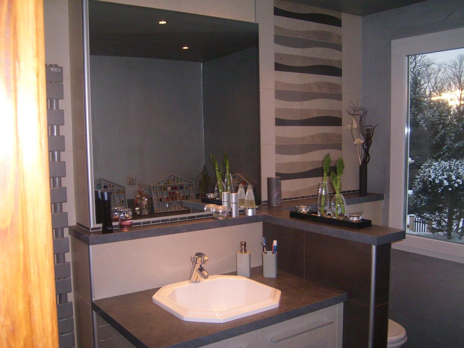 Salle de bain beige et chocolat, avec motifs vagues taupes, beiges ...