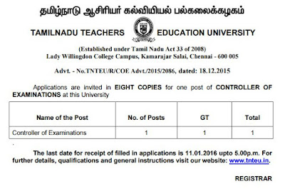 Applications are invited for Controller of Examinations (COE) in Tamil Nadu Teachers Education University (TNTEU) Chennai