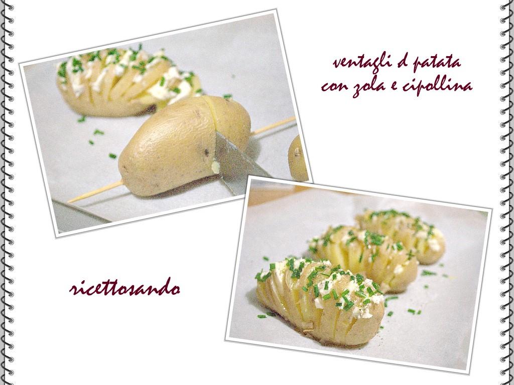 Ventagli di patate e gorgonzola ricetta vegetariana utilizziamo uno spiedino per inciderle