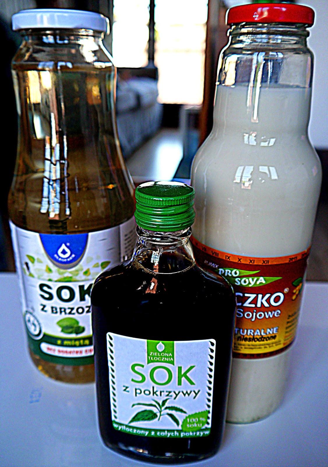 Sok z brzozy z miętą, mleko sojowe, sok z pokrzywy