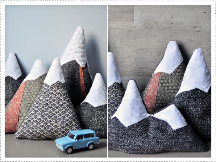 Coussins montagnes déco japonisante pour chambre d'enfant