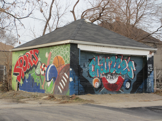 Mural Art on garage behind Charlie's Bar in Detroit