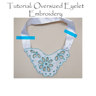 Free Download and Tutorial by Cicely Ingleside - Oversized Eyelet Lace Embroidered Necklace